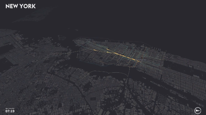 Visualiser le trafic de Londres, de New York et de Berlin à travers les voyages en vélos partagés